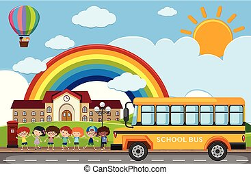 Scene with children and school bus on the road