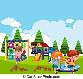 Scene with children playing in the park