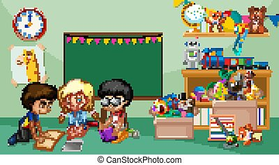 Scene with children playing in the room