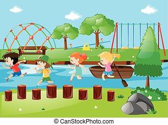 Scene with children running in park
