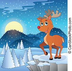 Scene with Christmas deer 3