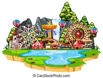 Scene with circus rides on the island