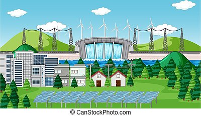 Scene with clean energy in the city