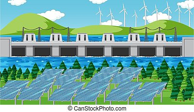 Scene with clean energy in the field