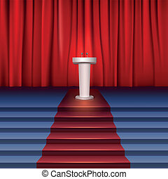 Scene with curtain, tribune and stairs covered red carpet....