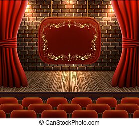 Scene with curtains against decorative brick vintage wall ...