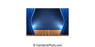 Scene with curtains against decorative brick vintage wall and wooden floor with light from floodlights for signboard