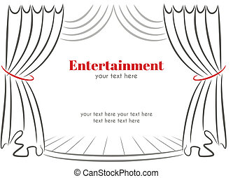 Scene with curtains - Vector illustration with curtains and ...