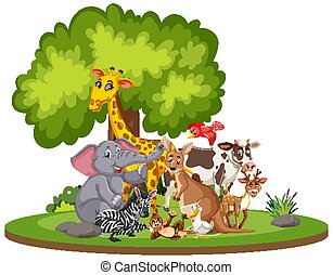 Scene with cute animals in the park