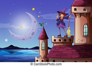 Scene with cute witch with broom standing on the castle tower illustration