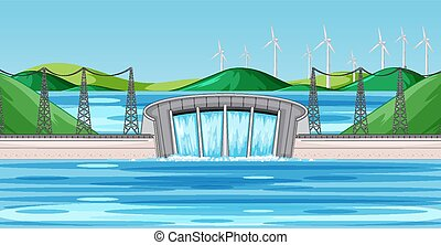 Scene with dam and wind turbines on the hills
