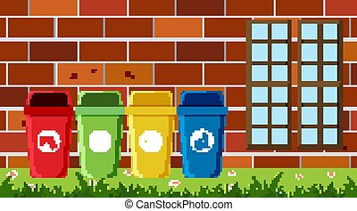 Scene with different types of garbage bins