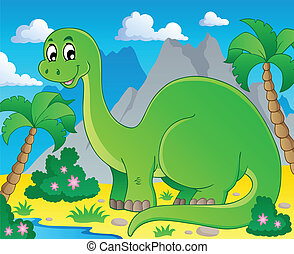 Scene with dinosaur 1 - vector illustration.