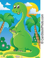 Scene with dinosaur 2 - vector illustration.