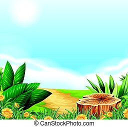 Scene with dirt road in the countryside illustration