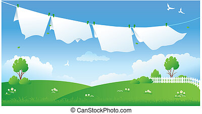 Illustration of drying laundry at a green field