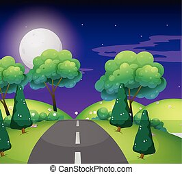 Scene with empty road at night