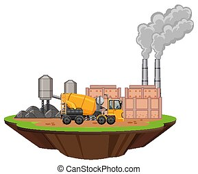 Scene with factory buildings and cement mixer illustration