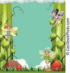 Scene with fairies in the garden