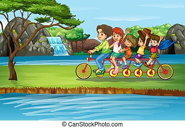 Scene with family riding bicycle in the park