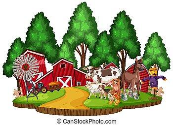 Scene with farm animals in the farmyard