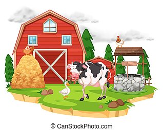 Scene with farm animals on the farm