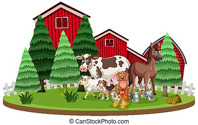 Scene with farm animals standing in front of the barns