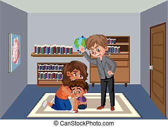 Scene with father bullying his family at home