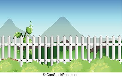 Scene with fence and garden