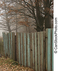 scene with fence - autumnal country scene with old wooden...