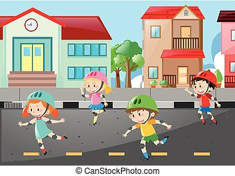 Scene with four kids skating on the road