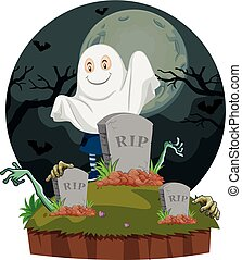 Scene with ghost in graveyard