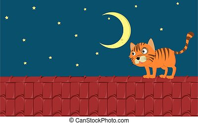 Scene with ginger cat standing on the roof at night