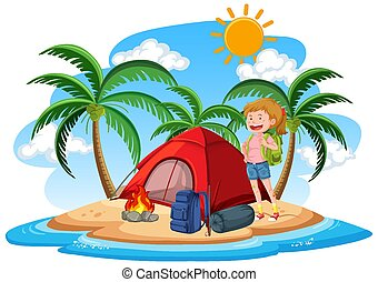 Scene with girl camping out on the island at day time