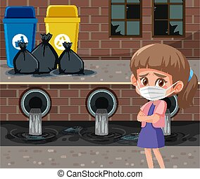 Scene with girl wearing mask in front of trashcans