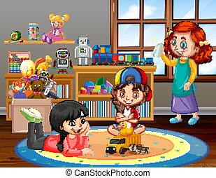 Scene with girls playing in the living room at home