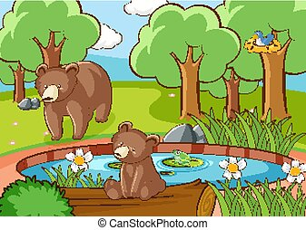 Scene with grizzly bears in forest
