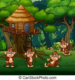 Scene with group of monkey playing at treehouse