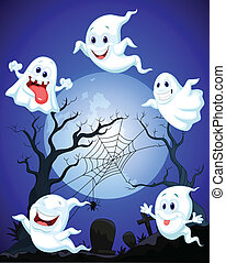 Scene with Halloween ghost
