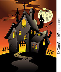 Scene with Halloween mansion 1 - vector illustration.