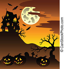 Scene with Halloween mansion 3