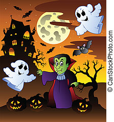 Scene with Halloween mansion 4 - vector illustration.
