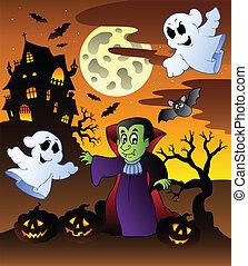 Scene with Halloween mansion 4 - vector illustration.