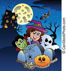 Scene with Halloween mansion 7