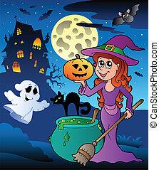 Scene with Halloween mansion 8
