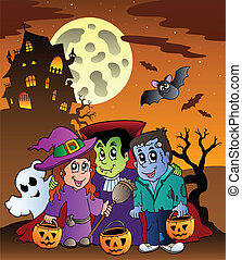 Scene with Halloween mansion 9 - vector illustration.
