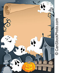 Scene with Halloween parchment 4 - vector illustration.