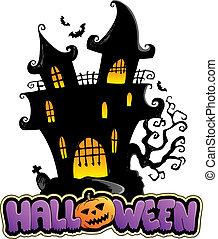 Scene with Halloween sign 1