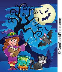 Scene with Halloween theme 9 - vector illustration.