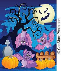 Scene with Halloween tree 5